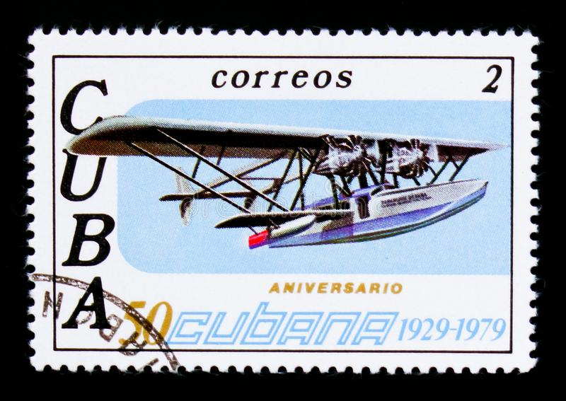 Airplane, 50th Anniversary of Airline CUBANA serie, circa 1979. MOSCOW, RUSSIA - SEPTEMBER 3, 2017: A stamp printed in Cuba shows Airplane, 50th Anniversary of stock photos