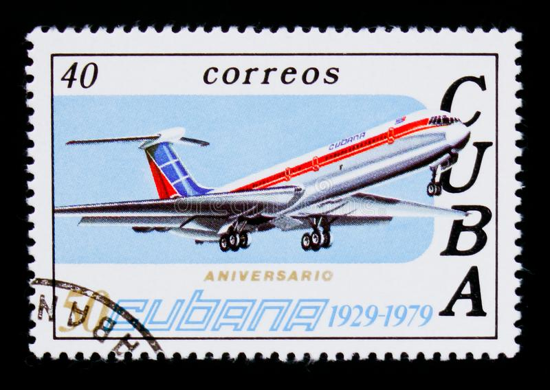 Airplane, 50th Anniversary of Airline CUBANA serie, circa 1979. MOSCOW, RUSSIA - SEPTEMBER 3, 2017: A stamp printed in Cuba shows Airplane, 50th Anniversary of stock image