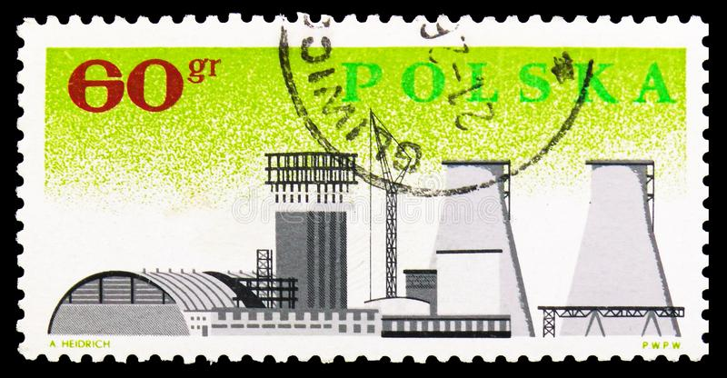 Chemical Combine in Plock, Nationalization of Polish Industry, 20th Anniversary serie, circa 1966. MOSCOW, RUSSIA - SEPTEMBER 15, 2018: A stamp printed in Poland stock illustration