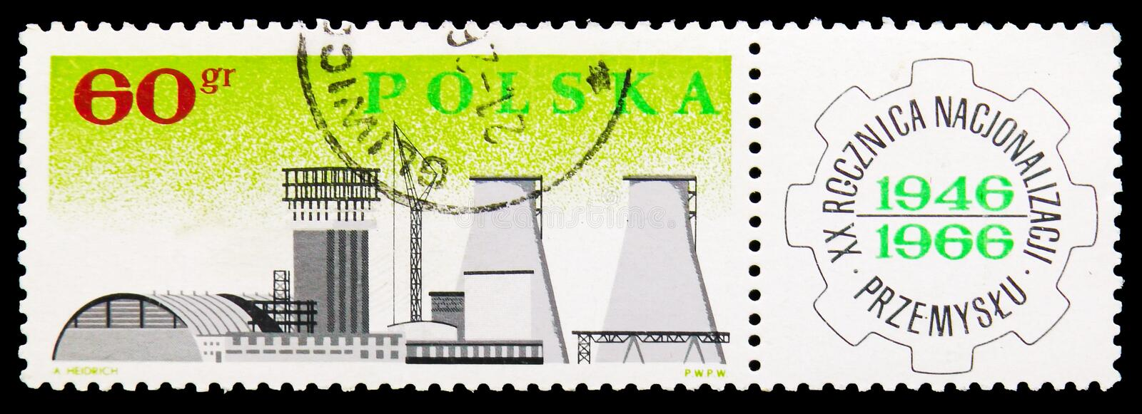 Chemical Combine in Plock, Nationalization of Polish Industry, 20th Anniversary serie, circa 1966. MOSCOW, RUSSIA - SEPTEMBER 15, 2018: A stamp printed in Poland vector illustration