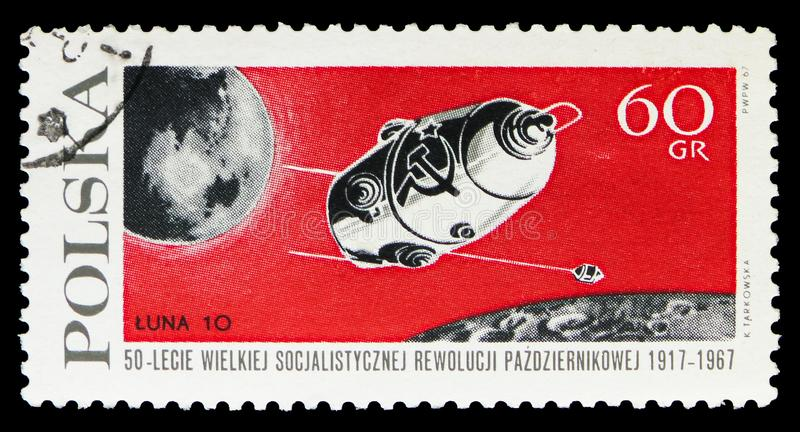 Luna 10, Earth and Moon, Russian Revolution, 50th Anniversary serie, circa 1967 vector illustration