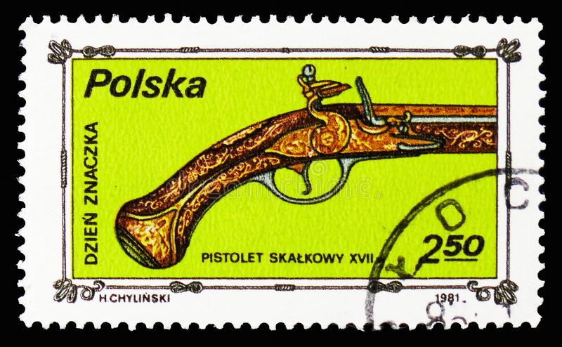 Pistol, 18th century, Stamp Day serie, circa 1981. MOSCOW, RUSSIA - SEPTEMBER 15, 2018: A stamp printed in Poland shows Pistol, 18th century, Stamp Day serie royalty free stock photo