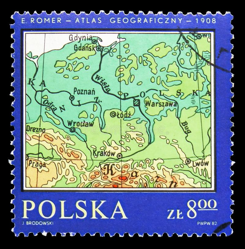 Poland, Romer's Atlas, Map of Poland serie, circa 1982. MOSCOW, RUSSIA - SEPTEMBER 15, 2018: A stamp printed in Poland shows Poland, Romer's Atlas, Map of Poland royalty free stock photos