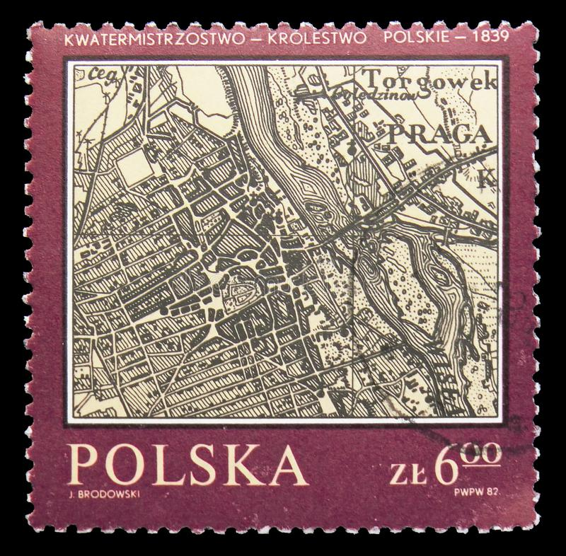 Warsaw,Polish Kingdom Quartermaster, 1839, Map of Poland serie, circa 1982. MOSCOW, RUSSIA - SEPTEMBER 15, 2018: A stamp printed in Poland shows Warsaw,Polish stock photo