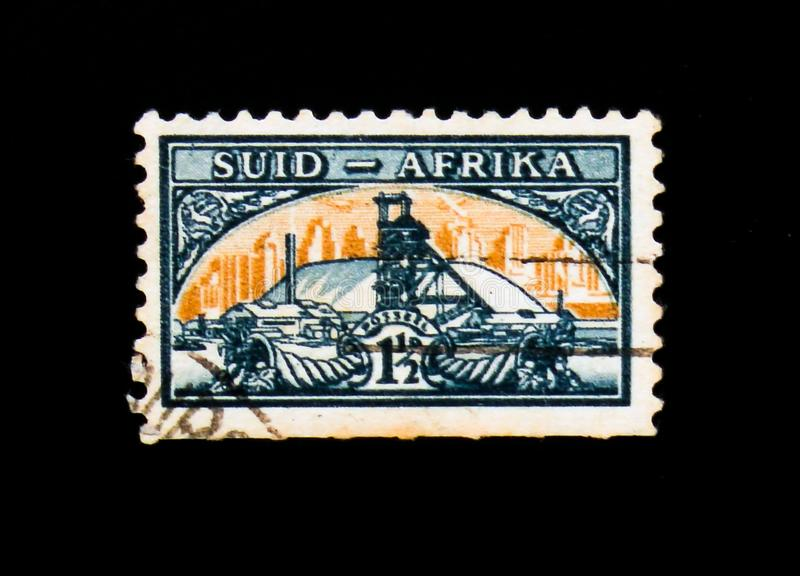 Gold Mine, Definitives serie, circa 1948. MOSCOW, RUSSIA - SEPTEMBER 3, 2017: A stamp printed in South Africa shows Gold Mine, Definitives serie, circa 1948 stock photo