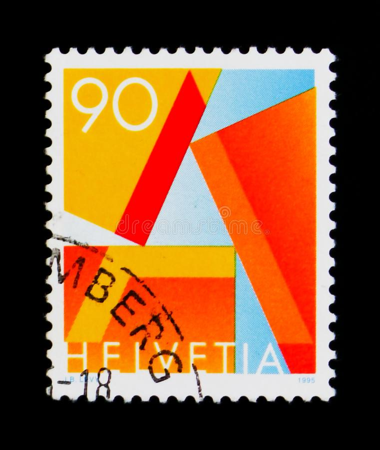 First Class Mail, serie, circa 1995. MOSCOW, RUSSIA - SEPTEMBER 3, 2017: A stamp printed in Switzerland shows First Class Mail, serie, circa 1995 stock image