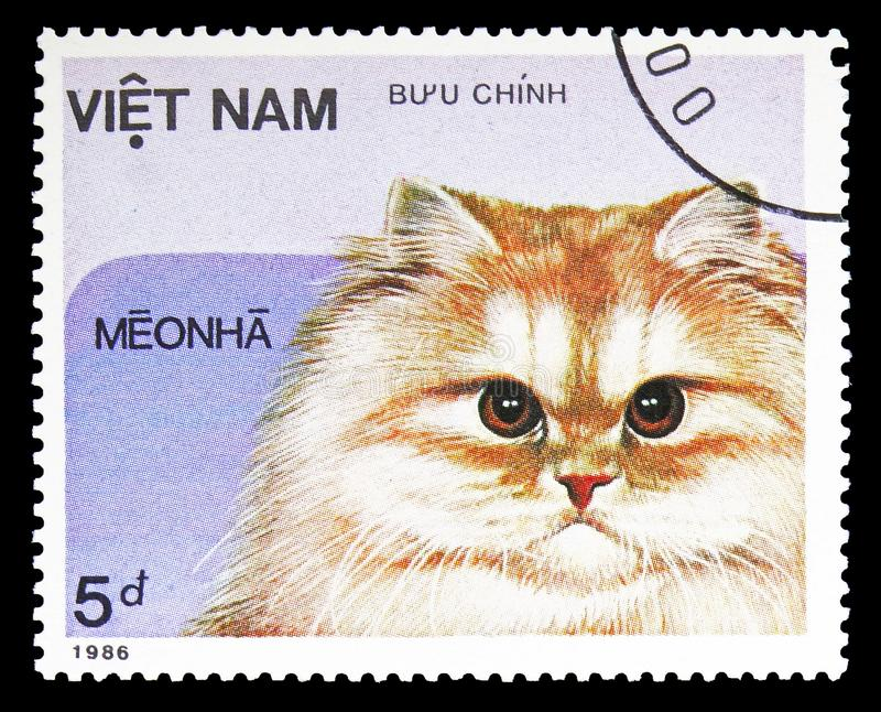Domestic Cat Felis silvestris catus, Domestic Cats serie, circa 1986. MOSCOW, RUSSIA - SEPTEMBER 26, 2018: A stamp printed in Vietnam shows Domestic Cat Felis stock images