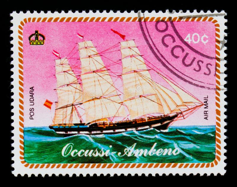 Virtual country - Occussi-Ambeno postage stamp shows Sailing boat, serie, circa 1977 stock image