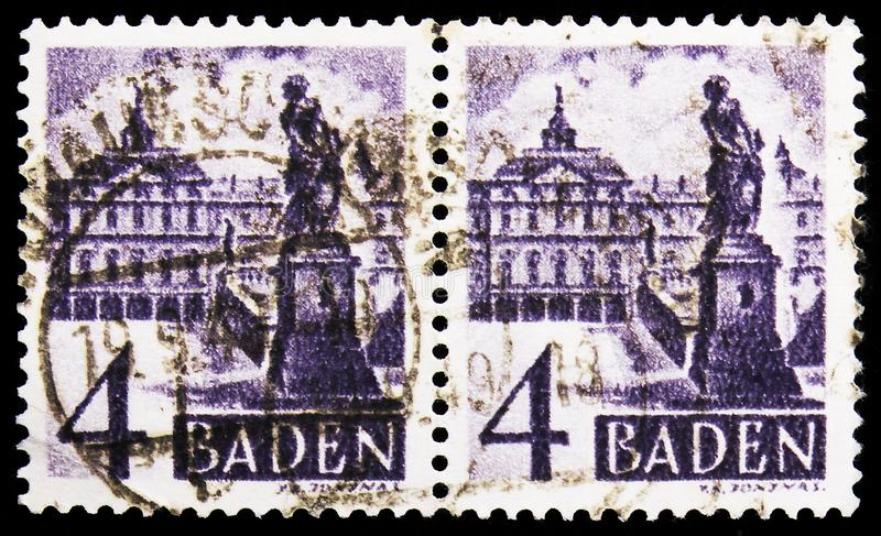 Two postage stamps printed in Germany shows Schloss Rastatt, French Zone - Baden serie, circa 1948 royalty free stock image