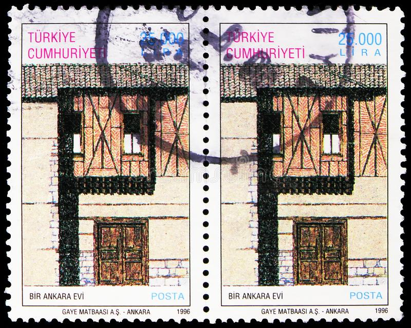 Two postage stamps printed in Turkey shows House in Ankara, Traditional Turkish Houses serie, circa 1996 royalty free stock images