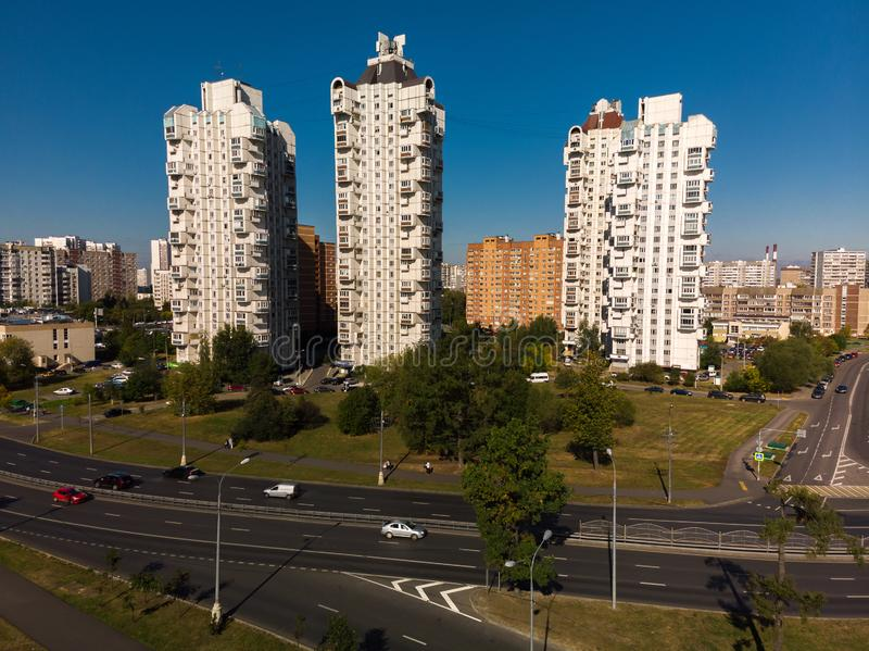 Moscow, Russia - September 20. 2018. view of residential high-rise buildings in Zelenograd. Moscow, Russia - September 20. 2018. view of residential high-rise stock photography