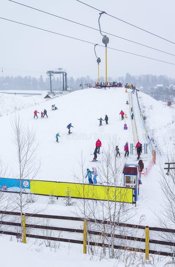 MOSCOW, RUSSIA: Ski club Leonid Tyagachev stock image