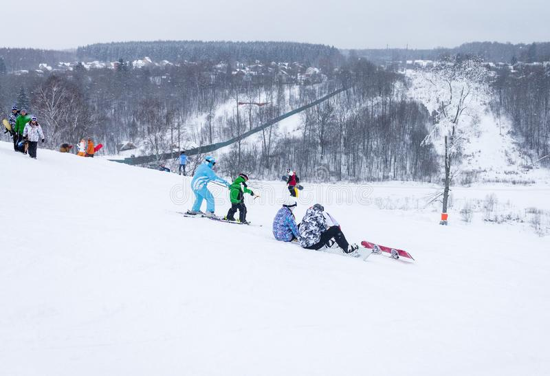 MOSCOW, RUSSIA: Ski club Leonid Tyagachev royalty free stock photos