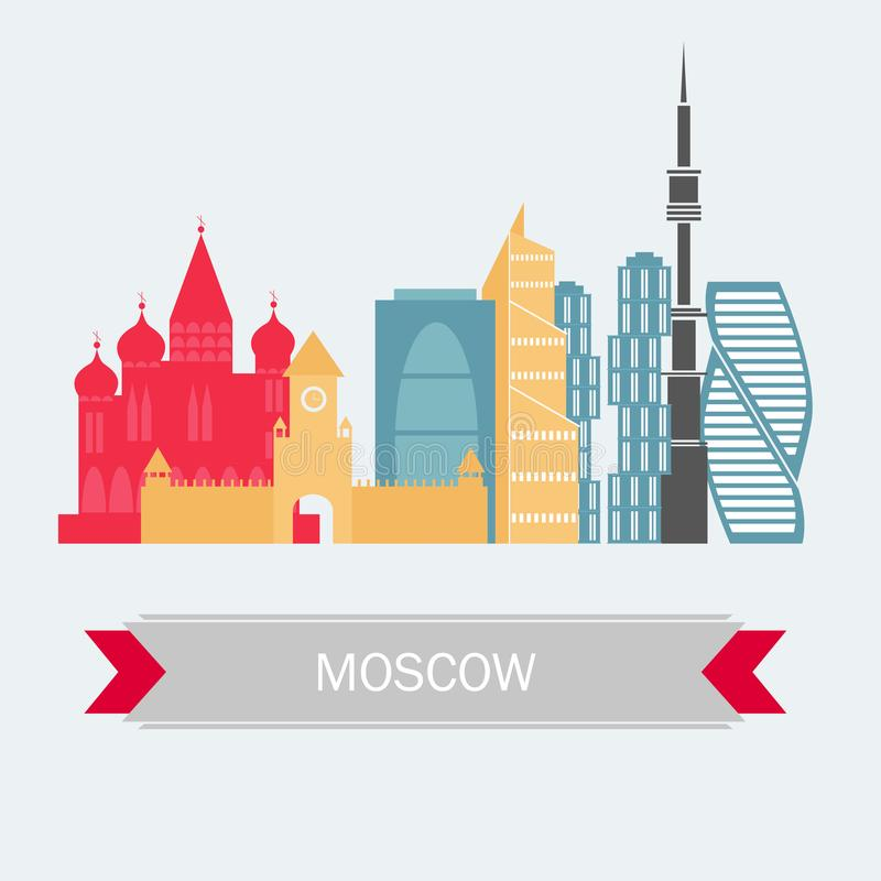 Moscow Russia Skyline with Color Buildings. Vector. Travel and Tourism stock illustration