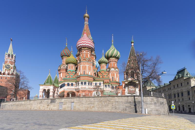 Moscow,Russia, St. Basil& x27;s Cathedral and Kremlin Walls and Tower royalty free stock photos