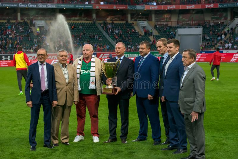 Cup Together with the team. MOSCOW, Russia, stadium Lokomotiv - July 15, 2019: Handing over the challenge cup Together with the team on the soccer game  of the royalty free stock image