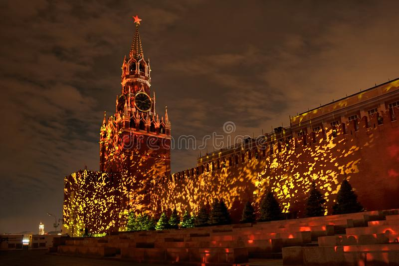 Stunning Spasskaya Tower in Volcanic Fire stock photography