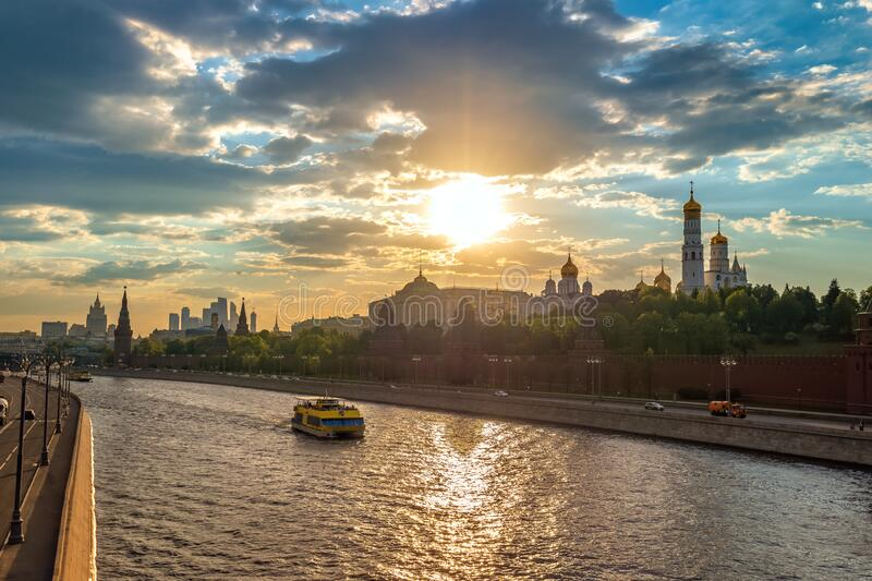 Moscow Russia sunset city skyline. Moscow Russia, sunset city skyline at Kremlin Palace Red Square and Moscow River royalty free stock photography