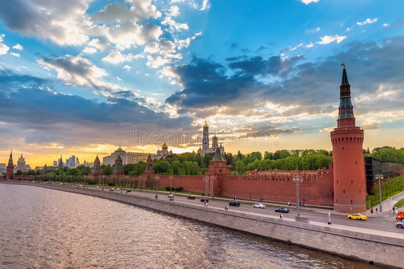 Moscow Russia sunset city skyline. Moscow Russia, sunset city skyline at Kremlin Palace Red Square and Moscow River stock photo