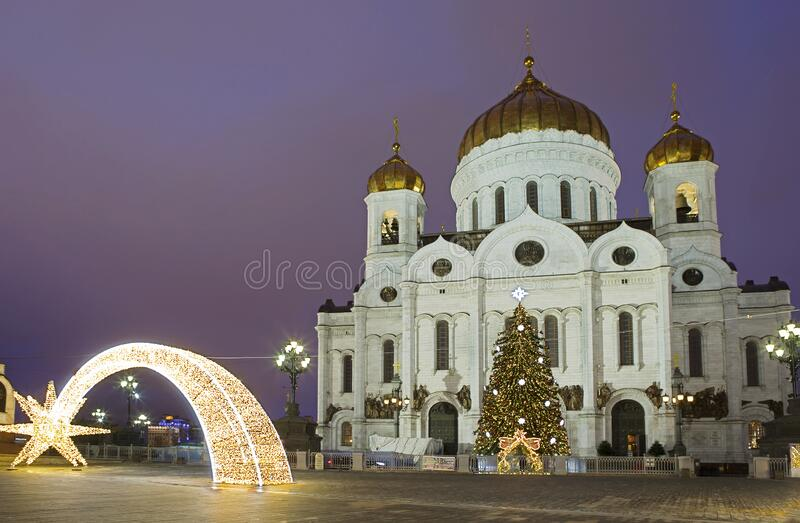 Moscow, Russia, Temple of Christ the Savior New Year and Christmas 2020 obraz stock