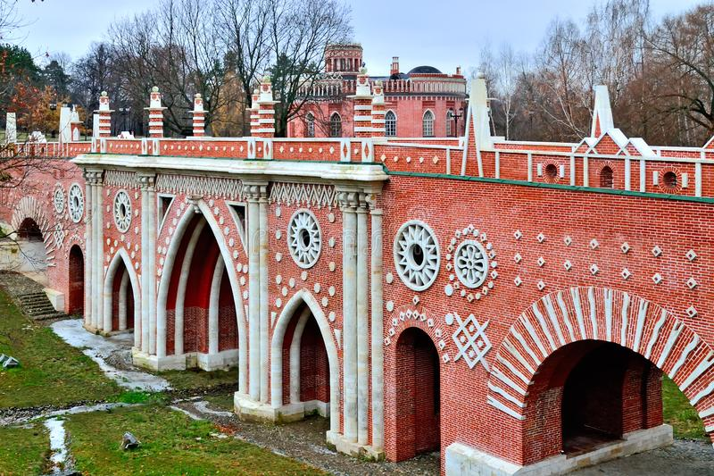 Moscow, Russia, Tsaritsyno - November 19, 2018: Great bridge over the ravine Gothic bridge. Palace and Park ensemble in the. Moscow, Russia, Tsaritsyno royalty free stock image
