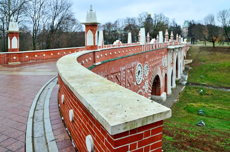 Moscow, Russia, Tsaritsyno - November 19, 2018: Great bridge over the ravine, Gothic bridge. Palace and Park ensemble in the. South of Moscow. It was founded in stock photography