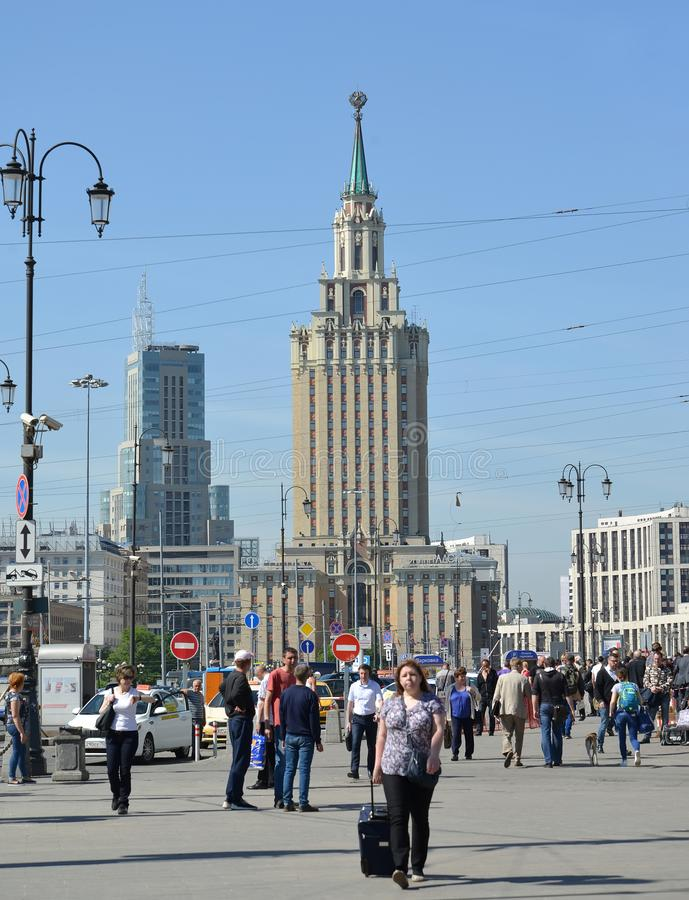 MOSCOW, RUSSIA. A view of Hilton Moscow Leningradskaya hotel from Komsomolskaya Square stock images