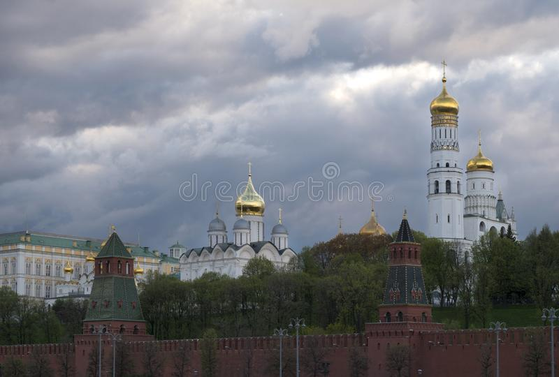 Moscow Russia View on Kremlin and Complex of Churches. Moscow Russia View on Kremlin President Palace and Complex of Churches royalty free stock photography