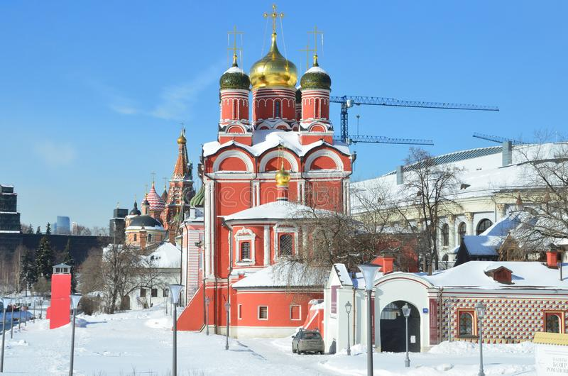 Moscow, Russia, March, 06, 2018. Znamensky monastery and Chambers of Romanov boyars in sunny spring day on Varvarka street. Moscow, Russia. Znamensky monastery royalty free stock image