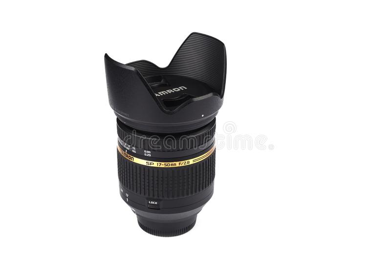 Moscow, Russian Federation - April 20, 2019. Nikon Tamron 17-50 mm f 2.8 Lens for Nikon DSLR Cameras. Copy space royalty free stock photo