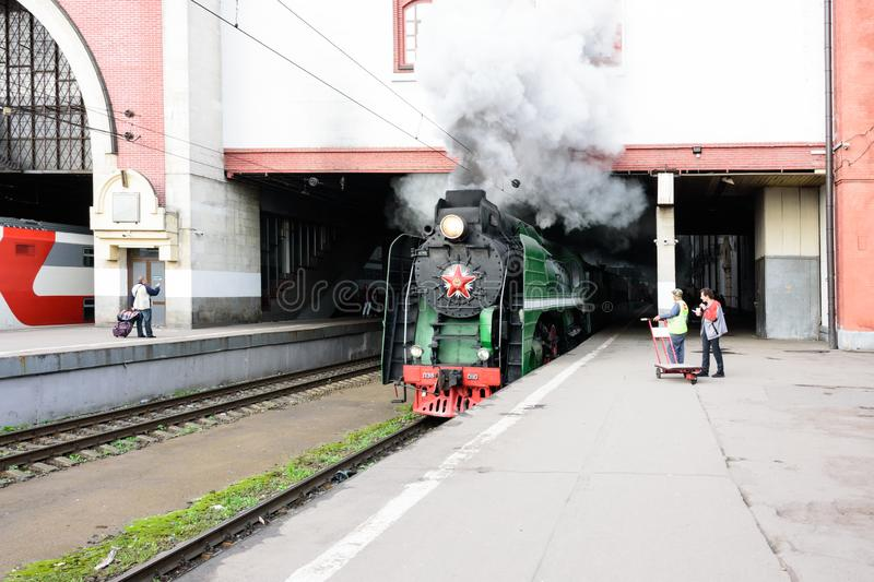 Moscow, Russian Federation - August 17, 2019: tours by train Moscow - Ryazan from the Kazan station. Train departure stock photography