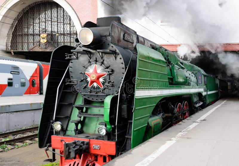 Moscow, Russian Federation - August 17, 2019: tours by train Moscow - Ryazan from the Kazan station. Train departure stock image