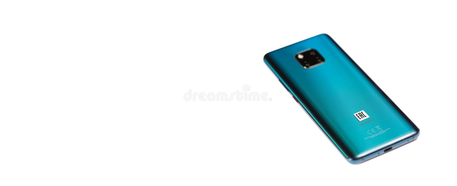 New smartphone from Huawei-Mate 20 Pro, Emerald Green, isolated on white background. Place for text stock photos