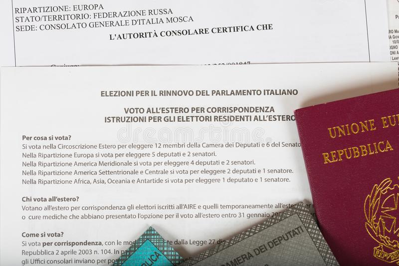 Moscow, Russian Federation.02/14/2018. Electoral package for Italian residents abroad. stock image
