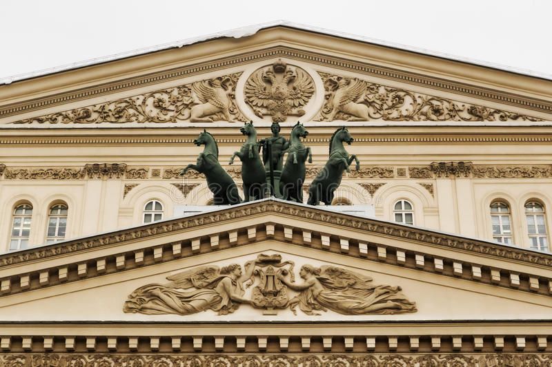 Moscow, Russian Federation - January 28, 2017. Bolshoi Theater pediment detail. View of the bronze quadriga created by Pyotr Klodt. This theatre is very famous royalty free stock image