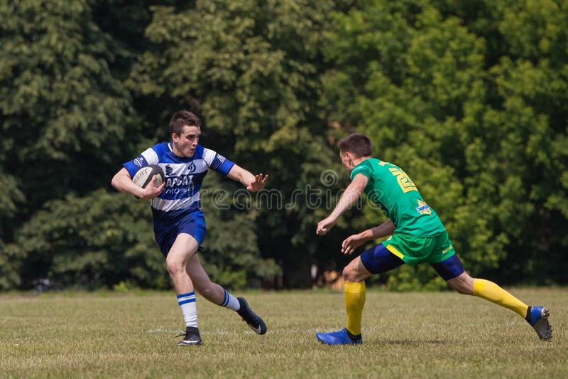 Rugby match Dynamo - Zelenograd. MOSCOW, RUSSIAN FEDERATION - JUNE 08, 2019:  Rugby. Championship FRL.  Sport competitions. Rugby match Dynamo - Zelenograd stock images