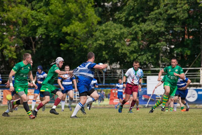 Rugby match Dynamo - Zelenograd. MOSCOW, RUSSIAN FEDERATION - JUNE 08, 2019:  Rugby. Championship FRL.  Sport competitions. Rugby match Dynamo - Zelenograd stock photography