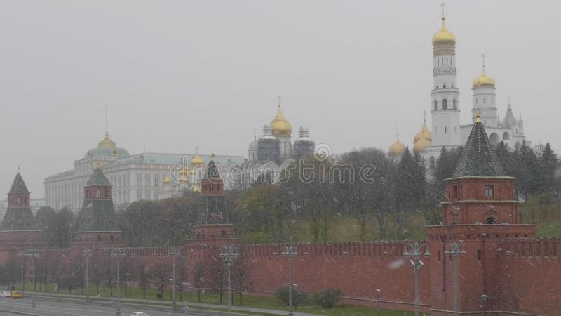 Moscow Russian Federation. The Moscow Kremlin in moving along the wall.  royalty free stock photo