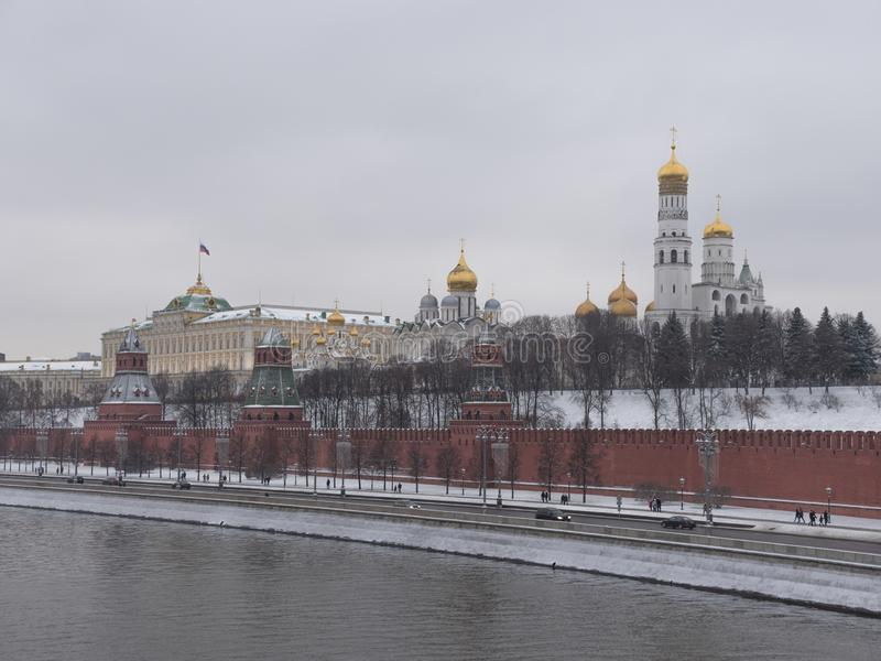 Moscow Russian Federation. The Moscow Kremlin in moving along the wall.  royalty free stock images