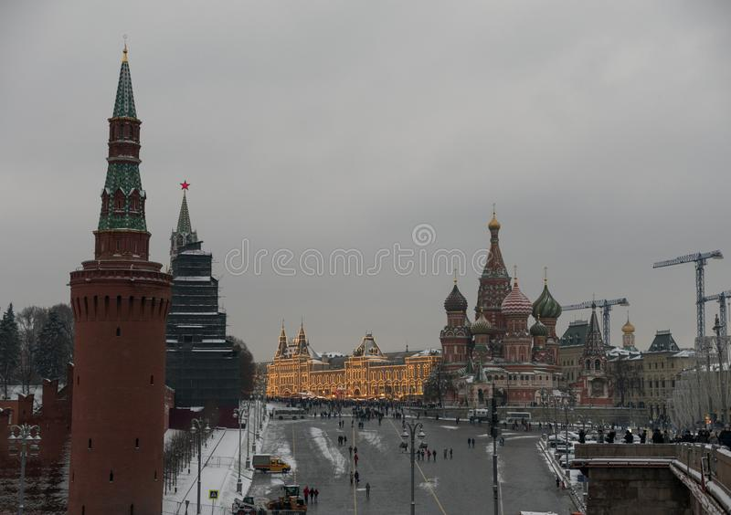 Moscow Russian Federation. The Moscow Kremlin in moving along the wall.  stock photo