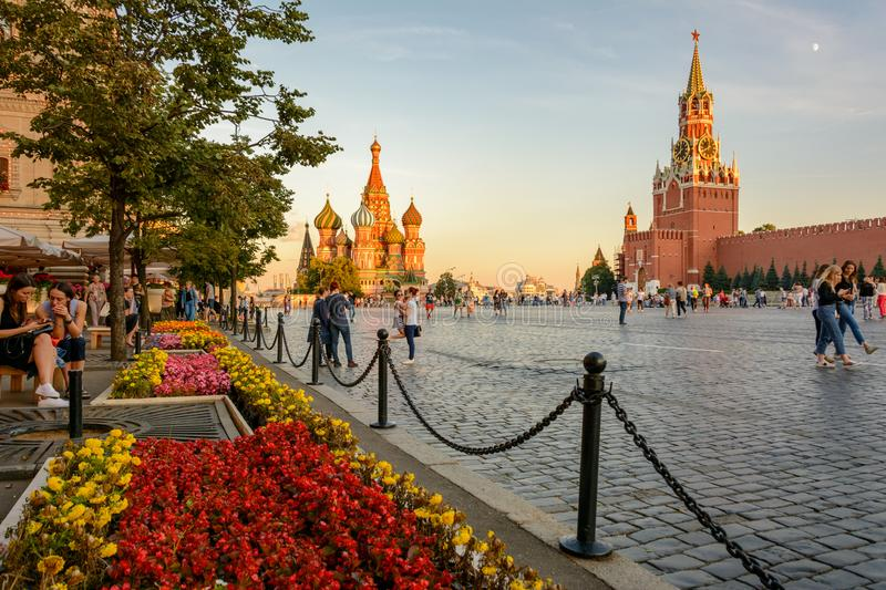 Moscow`s main sights: Saint Basil`s Cathedral and Red Square, the Moscow Kremlin. Red Square, Moscow, Russia - August 1, 2017 - Moscow`s main sights: Saint royalty free stock images