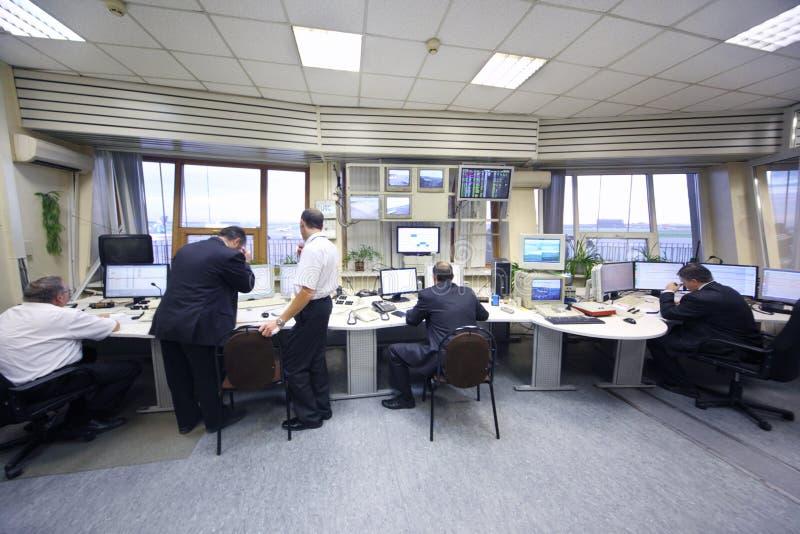Dispatchers i den Sheremetyevo flygplatsen fotografering för bildbyråer
