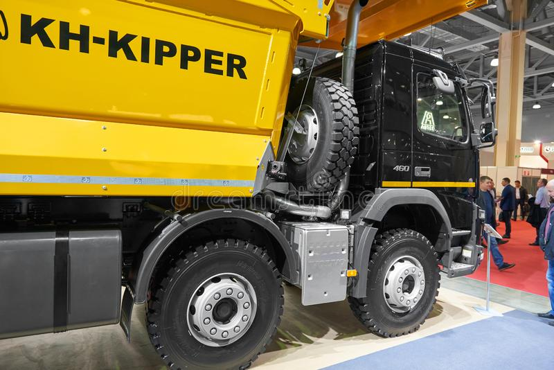 MOSCOW, SEP, 5, 2017: New Volvo 460 tipper truck on exhibition Mining World 2018. Volvo commercial trucks for different industrie stock photos