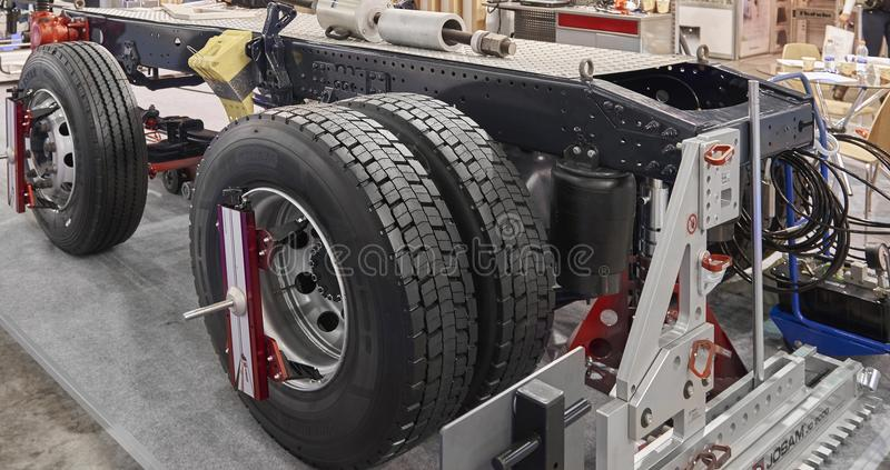 MOSCOW, SEP, 5, 2017: View on different tools devices equipment truck chassis maintenance at Commercial Transport Exhibition ComTr. Ans 2017 Service and royalty free stock photo