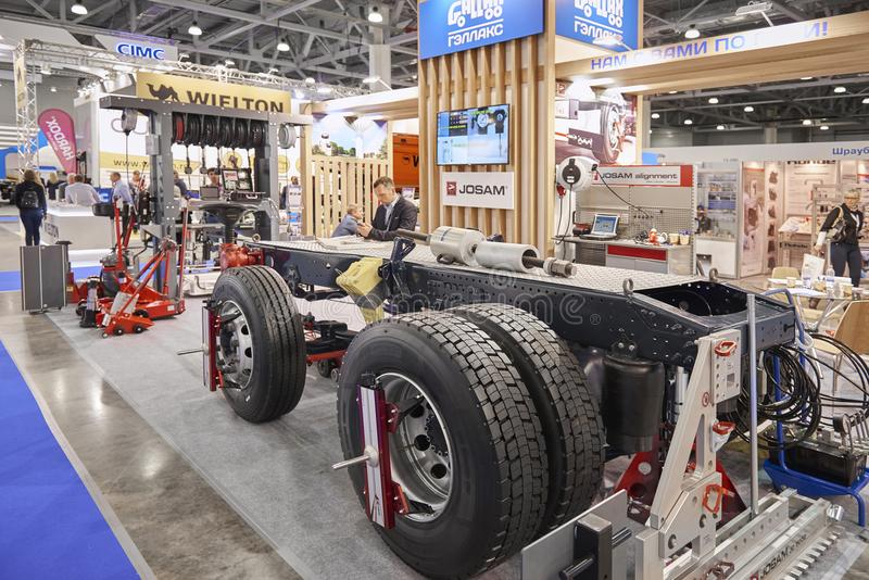 MOSCOW, SEP, 5, 2017: View on different tools devices equipment truck chassis maintenance at Commercial Transport Exhibition ComTr. Ans 2017 Service and stock photo