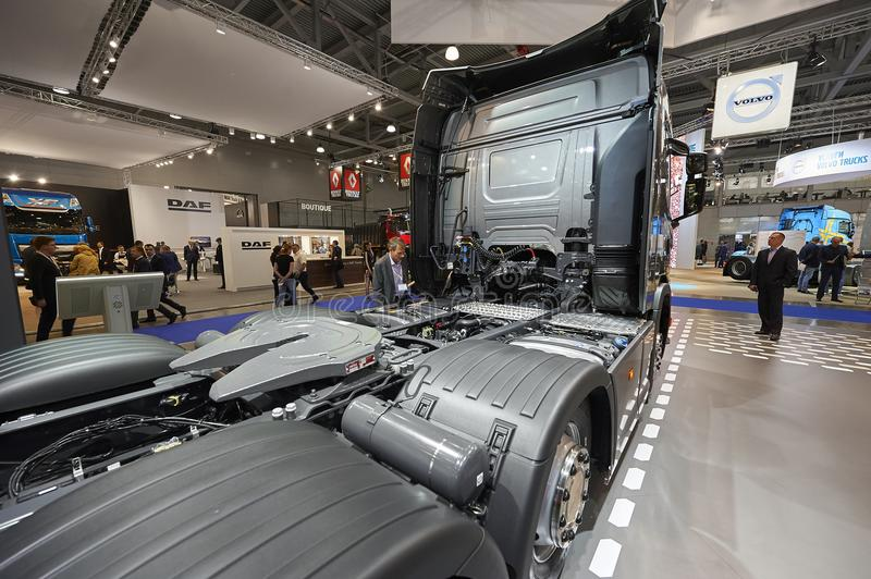 MOSCOW, SEP, 5, 2017: View on Scania truck back chassis with equipment. Scania trucks on Commercial Transport Exhibition ComTrans-. 2017. Truck back equipment stock photography