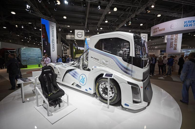 MOSCOW, SEP, 5, 2017: View on Volvo drag race high speed racing truck exhibit on Commercial Transport Exhibition ComTrans-2017 Aut stock image