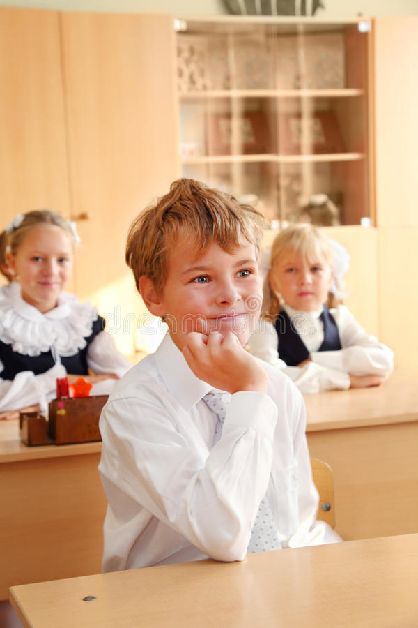First Grader Boy In Classroom Editorial Photography