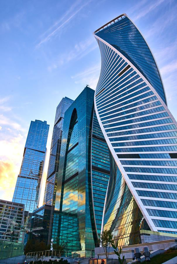 Low angle view of Moscow-City skyscrapers, Russia. Moscow-City is a new business district in Moscow centre. stock photography