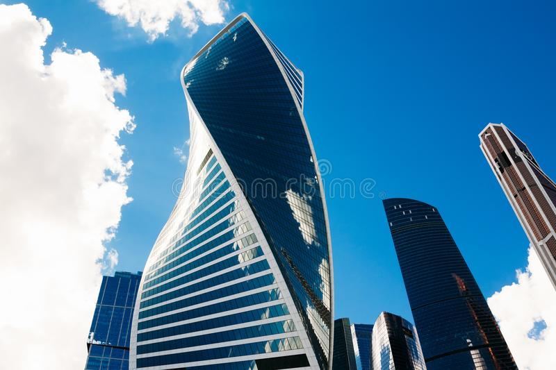 Moscow skyscrapers against the sky with clouds. Russia stock images